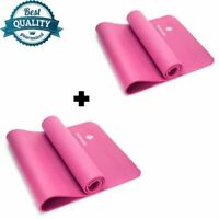 PACK OF 2 YOGA MAT FOR PILATES GYM EXERCISE CARRY STRAP 10MM THICK NBR PINK