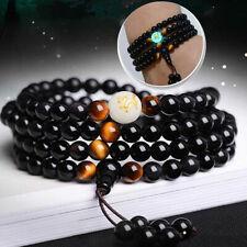 Luminous Dragon Mala Bracelet Yoga Black Onyx Men Women 108 Buddha Beads