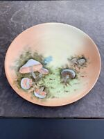 "Antique Painted 6 3/4"" Plate Mushrooms Signed E.M. Laughlin Sevres Bavaria"