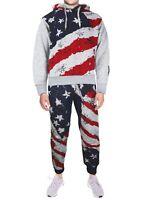 Lavish Society Men's Athletic US Flag Pullover Hoodie Jacket Pants Tracksuit Set