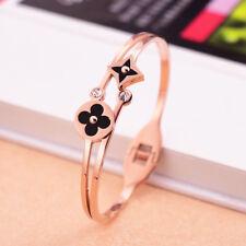 Stainless Steel 14K Rose Gold Clover Flower CZ Womens Bangle Bracelet Jewelry