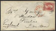 US 1872 Sc. # 148 TIED NEWBURGH NY VIA NEW YORK CITY IN RED TO LONDON ENGLAND