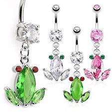 Crystal Gem Frog Dangle Belly Ring Pierced Navel 14g 316L Surgical Steel