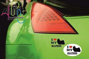 DA 15 -  I love my Malteser Hund Dog Aufkleber für Auto, Laptop, Schrank