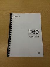 Nikon D60 dgital Fotocamera completamente stampata A4 User Manual Guide Manuale 204 Pagine