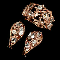 Unheated Pear Pink Morganite Rose Gold Plate 925 Sterling Silver Ring Earrings