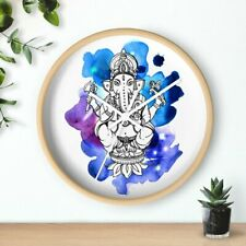 Lord Ganesha God Sitting Watercolor Silhouette Beautiful Wall Clock