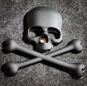 Skull Bone Devil 3D Motorcycle Car Emblem Badge Logo Decal Metal Sticker Black