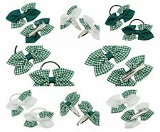 Bottle green and white gingham school bows Gingham bobbles or clips Summer bows