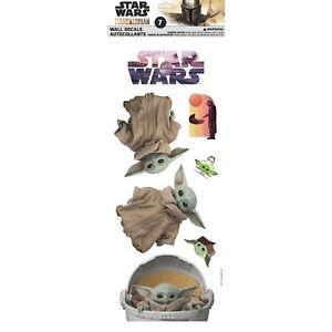 Star Wars Mandalorian: GROGU Child Baby Yoda 7 pc Wall Decals Removable Stickers