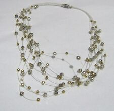 tone bead Necklace 36 cm long Wonderful fine stranded small faceted beaded gold