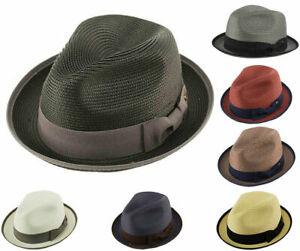 Mens Crushable 2 Tone Summer Fedora Porkpie Hat w/ Upturn Brim Poly Braid Edge