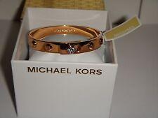 MICHAEL KORS Women's Rose Gold Astor Studs Zircon Bangle Bracelet MKJ4552791+BOX