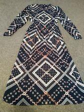 BNWT M&S funky retro patchwork vintage style pattern blue midi dress 8