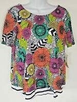 Westbound Petites Women's Floral Lined Top Petite L Striped Shirttail Hem NWT