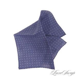 NWOT #1 MENS Made in Italy 100% Linen Ocean Blue Pois Starlight Pocket Square