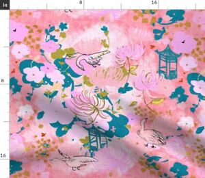 Pink Blue Asian Flowers Floral Birds Cherry Spoonflower Fabric by the Yard