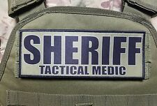 "3x8"" SHERIFF TACTICAL MEDIC OD Green Black VELCRO® BRAND Morale Raid Patch SWAT"