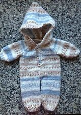 """Dolls clothes hand knitted one piece suit for 12-14"""".boy doll - very cute"""