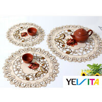 4Pcs/Set Embroidered Round Placemats Doilies Satin Floral Dining Drink Table Pad