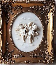 Zwei Engel Relief Bild Goldrahmen Barockrahmen Putte Putti Engelmotiv
