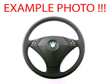 BMW 5 SERIES E60 E61 NEW Black Leather Steering Wheel M-tricolored Threads