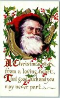 ~SANTA CLAUS in Gold Horseshoe~Holly~ Antique Christmas Postcard-Unused-m256