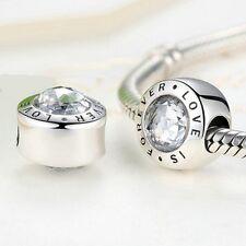 Impresionante 925 plata encanto del amor es para siempre con piedras zirconia cúbico