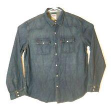 LEVIS Mens Long Sleeve Pearl Snap Blue Denim Western Shirt Size XXL NWT