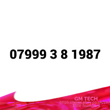 07999 38 1987 EASY MOBILE NUMBER GOLD DIAMOND PLATINUM PAY AS YOU GO SIM CARD