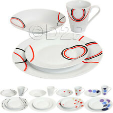 16PC DINNER SET BOWL PLATE MUG SOUP SIDE PORCELAIN CUP GIFT KITCHEN SERVICE NEW
