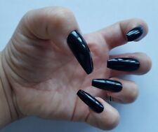 24 Hand Painted Gel False Nails - Jet Black - Coffin, Stiletto, Square, Oval