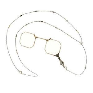 Antique Art Deco 14k Gold Etched Filigree Lorgnette Glasses Onyx & Pearl Chain