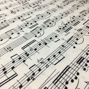 1/2 Meter Sheet Music Cream White Music Score Novelty Sewing Quilting Fabric
