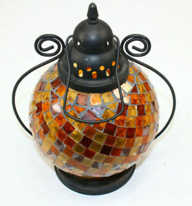 Round Brown Orange Gold Mosaic Glass Tea Light Candle Dome LANTERN