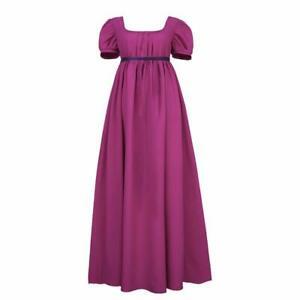 Regency Dresses for Women with Satin Sash Ruffle Empire Waist Dress Gown Purple