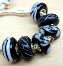 Solid Black White Swirls & Zebra Stripes Single Core European Murano Glass Beads