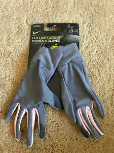 Nike Dry-Fit Dry Lightweight Women's Running Gloves NEW Grey Pink XSmall