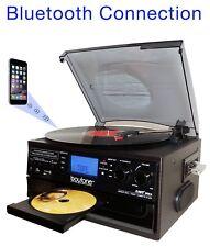 Boytone BT-22B,Bluetooth Record Player Turntable AM/FM Cassette CD/MP3/SD/USB