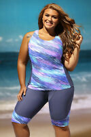 NEW GRAY TEAL PURPLE RASH GUARD SWIMSUIT SIZE M, L, XL, 2XL, 3XL, 4XL, 5XL