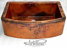 Ariellina Farmhouse Smooth Copper Kitchen Sink Lifetime Warranty New AC1832 NF