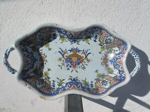 faience de Rouen/Sinceny.18 éme: jolie banette 2 anses.riche décor 5 couleurs.