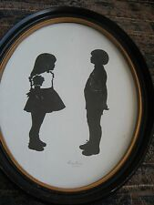 "Silhouette Picture-Boy And Girl-1975-Oval-13"" x 10""-artist signed"