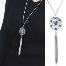 Womens SILVER Retro Turquoise Feather Pendant Long Sweater Chain Necklace