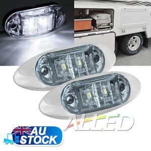 2X12V Cool White LED Sleek Side Marker Clearance Light Indicator Trailer Truck