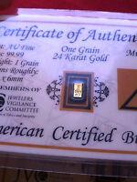 ACB GOLD Vertical 1GRAIN 24K SOLID AU BULLION MINTED BAR 99.99 FINE W/ COA $