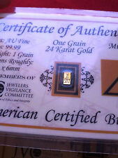 ACB GOLD Vertical 1GRAIN 24K SOLID AU BULLION MINTED BAR 99.99 FINE W/ COA +