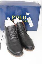 POLO RALPH LAUREN Men's Leather US 10.5D Chukka Boots Black Marlow Laces Up $150