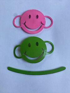 Vintage 1970s  Smiley Face Hair Barrette Stick Clip Style Set Of 2