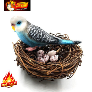 Cute 2Parrots Bird egg Figurine fair Model Home Deco Miniature Garden Decoration